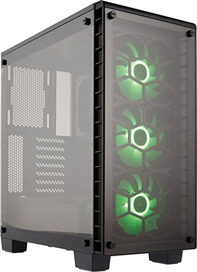 Corsair CC-9011101-WW Crystal Series 460X RGB Windowed Compact Mid-Tower ATX Tempered Glass/RGB Case Fans - Black