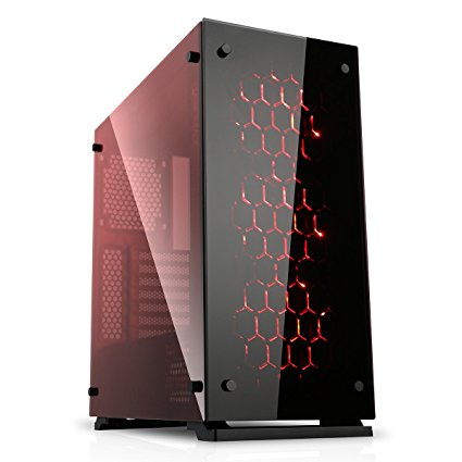 Game Max Onyx RGB Mid Tower ATX PC Case with 3 x RGB Fan and Tempered Glass Side and Front - Black