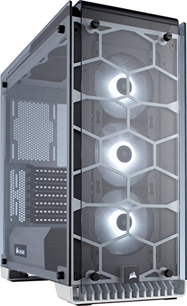 Corsair CC-9011110-WW Crystal Series 570X RGB Windowed Mid-Tower ATX Tempered Glass Case with RGB Case Fans - White
